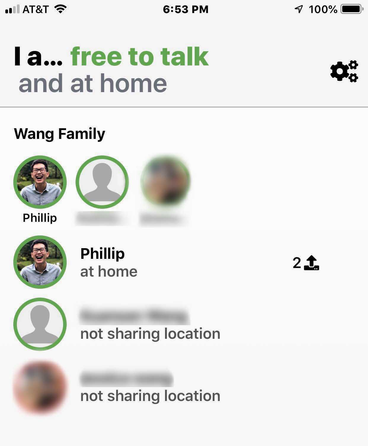 Screenshot of an iOS interface indicating the names of a few users who are free to talk