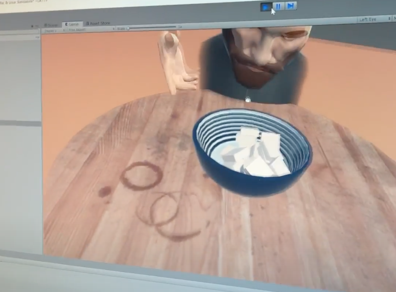 Screen capture of a person and their video recreated in Virtual Reality