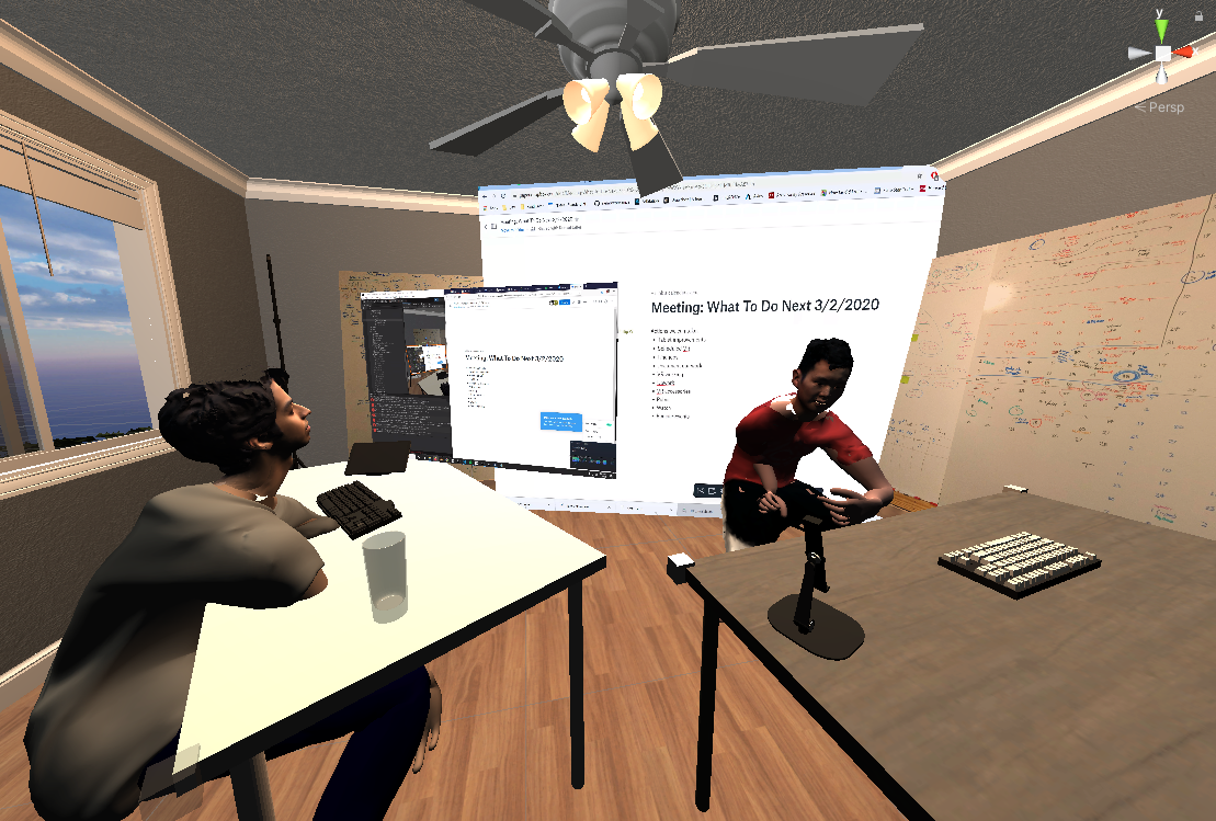 Screenshot shows a digital reconstruction of our physical office space inside virtual reality. It shows the entire Siempre team at their respective desks but as 3D avatars that we designed to look like our physical selves. Our monitors are also represented in VR and the screenshot shows that they are visible to all team members. There is also a virtual whiteboard that has our notes from real life.